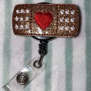 Heart Glitter Bandaid Badge Reel! ❤️